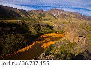 View of Agrio river near Salto del Agrio waterfall. Стоковое фото, фотограф Яков Филимонов / Фотобанк Лори