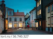 Parnu, Estonia. Night View Of Puhavaimu Street With Old Buildings... Стоковое фото, фотограф Ryhor Bruyeu / easy Fotostock / Фотобанк Лори