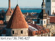 Tallinn, Estonia. Part Of Tallinn City Wall. Nun's Tower Nunnatorn... Стоковое фото, фотограф Ryhor Bruyeu / easy Fotostock / Фотобанк Лори