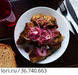 Portion of pork shashlik with greenery and onion. Стоковое фото, фотограф Яков Филимонов / Фотобанк Лори