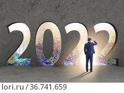 Concept of year 2022 with businessman. Стоковое фото, фотограф Elnur / Фотобанк Лори