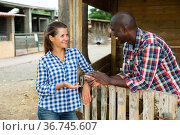 Getting to know the neighbors at the country houses in village. Стоковое фото, фотограф Яков Филимонов / Фотобанк Лори