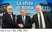 The candidate for mayor of Rome of center-left Roberto Gualtieri, ... Редакционное фото, фотограф Maria Laura Antonelli / AGF/Maria Laura Antonelli / age Fotostock / Фотобанк Лори