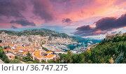 Monaco, Monte Carlo cityscape. Real estate architecture on mountain... Стоковое фото, фотограф Ryhor Bruyeu / easy Fotostock / Фотобанк Лори