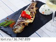 Grilled trout with rice. Стоковое фото, фотограф Яков Филимонов / Фотобанк Лори