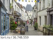 Gasse in der Altstadt und Stadttor in Loches, Loire-Tal, Frankreich... Стоковое фото, фотограф Peter Schickert / age Fotostock / Фотобанк Лори