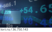 Image of financial data processing over computer chip and blue links. Стоковое фото, агентство Wavebreak Media / Фотобанк Лори