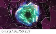 Kaleidoscope shapes moving against glowing tunnel. Стоковое фото, агентство Wavebreak Media / Фотобанк Лори