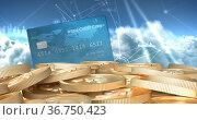Image of credit card over network of connections and stack of euro coins. Стоковое фото, агентство Wavebreak Media / Фотобанк Лори