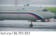 Tu-154 Soviet three-engine jet passenger airliner. Редакционное видео, видеограф Игорь Жоров / Фотобанк Лори