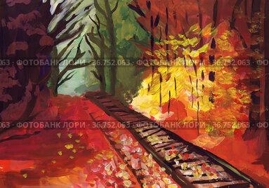 Железная дорога в осеннем лесу. Детский рисунок