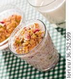 Glass of milk with muesli. Стоковое фото, фотограф Яков Филимонов / Фотобанк Лори