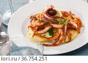 Seafood lunch. Tasty fried squid or octopus tentacles closeup. Стоковое фото, фотограф Яков Филимонов / Фотобанк Лори