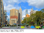 Madison Square and Madison Square Park in New York City borough of Manhattan. Редакционное фото, фотограф Валерия Попова / Фотобанк Лори