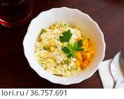 Vegetarian salad with corn, cheese and mayonnaise. Стоковое фото, фотограф Яков Филимонов / Фотобанк Лори