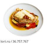 Eggplant with tomato, minced meat and cheese. Стоковое фото, фотограф Яков Филимонов / Фотобанк Лори
