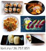 Tasty different dishes of japanese cuisine served at plates. Стоковое фото, фотограф Яков Филимонов / Фотобанк Лори