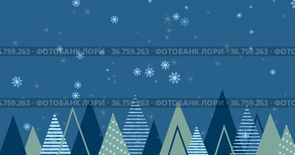 Image of snow falling over christmas trees on blue background