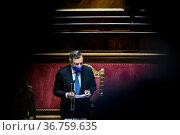 Italian Prime Minister Mario Draghi speaks to the Senate in Rome ,... Редакционное фото, фотограф Francesco Fotia / AGF/Francesco Fotia / AGF / age Fotostock / Фотобанк Лори