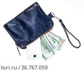 Top view of open small blue leather wristlet purse bag with phone... Стоковое фото, фотограф Zoonar.com/Valery Voennyy / easy Fotostock / Фотобанк Лори
