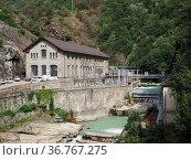 Hydroelectrical power station on torrent Lys in Pont Saint Martin... Стоковое фото, фотограф Zoonar.com/Claudio Divizia / easy Fotostock / Фотобанк Лори