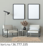 Mock up two blank picture frames with armchairs and black lamp 3D... Стоковое фото, фотограф Zoonar.com/Milic Djurovic / easy Fotostock / Фотобанк Лори