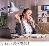 Businesswoman working in the office. Стоковое фото, фотограф Elnur / Фотобанк Лори