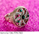 Jewellery concept with ring on shiny background. Стоковое фото, фотограф Elnur / Фотобанк Лори