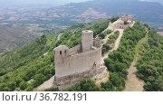 View from drone old Mur castle in spanish municipality Castell de Mur in Catalonia, Spain. Стоковое видео, видеограф Яков Филимонов / Фотобанк Лори