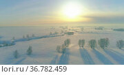 Aerial view of cold winter landscape arctic field, trees covered with frost snow, ice river and sun rays over horizon. Extreme low temperature weather. Стоковое видео, видеограф Александр Маркин / Фотобанк Лори