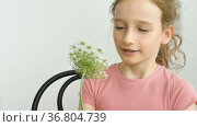Little girl is sitting at home with flowers in hands during summer time and sneezing, hypersensitivity, asthma, or allergy concept. Стоковое видео, видеограф Ольга Балынская / Фотобанк Лори