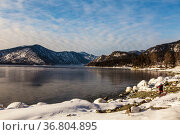View of Lake Teletskoye and the surrounding mountains in winter. Altai Republic. Russia. Стоковое фото, фотограф Наталья Волкова / Фотобанк Лори