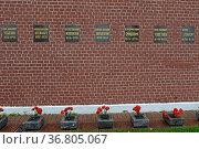 Надгробные плиты общественных и партийных деятелей в Кремлёвской стене в центре города Москвы. Редакционное фото, фотограф Free Wind / Фотобанк Лори