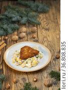 Traditional Christmas dinner in Czech Republic - carp fillet with... Стоковое фото, фотограф Richard Semik / easy Fotostock / Фотобанк Лори