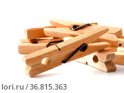 Wooden clothes pegs for clothes drying. Стоковое фото, фотограф Zoonar.com/Andrey Cherkasov / easy Fotostock / Фотобанк Лори
