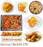Plates of tasty shrimp dishes. Стоковое фото, фотограф Яков Филимонов / Фотобанк Лори