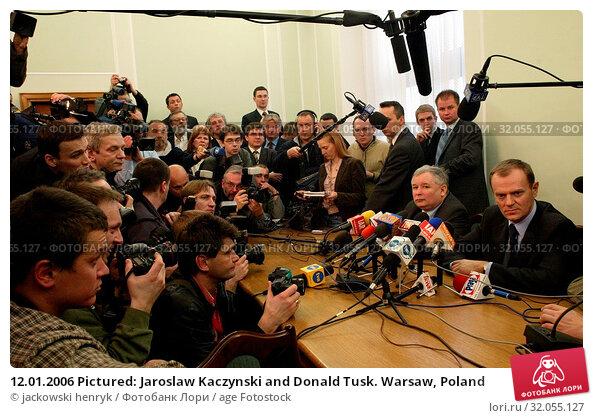 12.01.2006 Pictured: Jaroslaw Kaczynski and Donald Tusk. Warsaw, Poland. Редакционное фото, фотограф jackowski henryk / age Fotostock / Фотобанк Лори