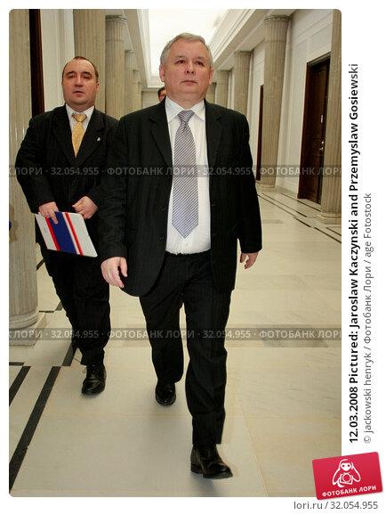 12.03.2008 Pictured: Jaroslaw Kaczynski and Przemyslaw Gosiewski. Редакционное фото, фотограф jackowski henryk / age Fotostock / Фотобанк Лори