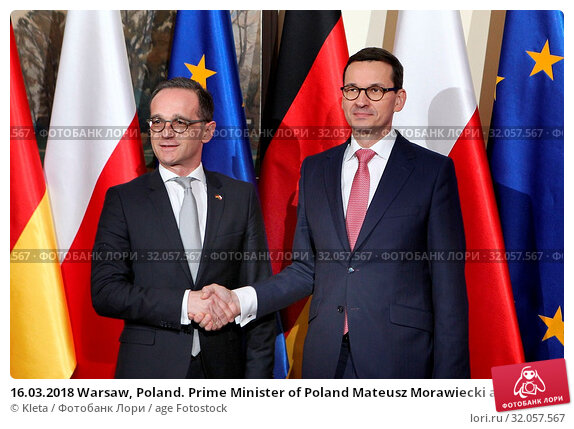 16.03.2018 Warsaw, Poland. Prime Minister of Poland Mateusz Morawiecki at the meeting with Heiko Maas - German Foreign Minister. Редакционное фото, фотограф Kleta / age Fotostock / Фотобанк Лори