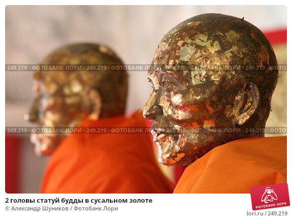 Купить «2 головы статуй будды в сусальном золоте», фото № 249219, снято 2 марта 2006 г. (c) Александр Шуников / Фотобанк Лори