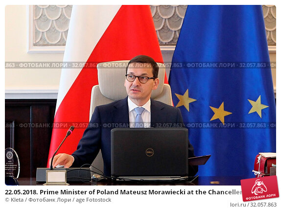 22.05.2018. Prime Minister of Poland Mateusz Morawiecki at the Chancellery sitting. Warsaw, Poland. Редакционное фото, фотограф Kleta / age Fotostock / Фотобанк Лори