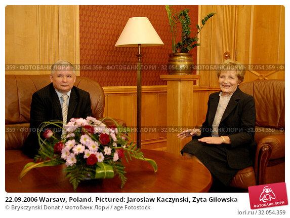 22.09.2006 Warsaw, Poland. Pictured: Jaroslaw Kaczynski, Zyta Gilowska. Редакционное фото, фотограф Brykczynski Donat / age Fotostock / Фотобанк Лори