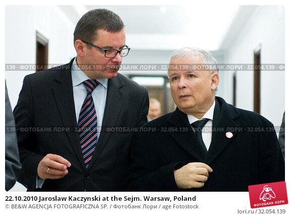 22.10.2010 Jaroslaw Kaczynski at the Sejm. Warsaw, Poland. Редакционное фото, фотограф BE&W AGENCJA FOTOGRAFICZNA SP. / age Fotostock / Фотобанк Лори