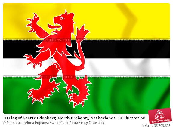3D Flag of Geertruidenberg (North Brabant), Netherlands. 3D Illustration... Стоковое фото, фотограф Zoonar.com/Inna Popkova / easy Fotostock / Фотобанк Лори