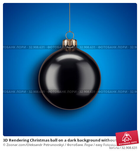 3D Rendering Christmas ball on a dark background without inscriptions. Стоковое фото, фотограф Zoonar.com/Oleksandr Petrunovskyi / easy Fotostock / Фотобанк Лори