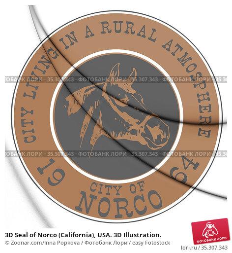 3D Seal of Norco (California), USA. 3D Illustration. Стоковое фото, фотограф Zoonar.com/Inna Popkova / easy Fotostock / Фотобанк Лори