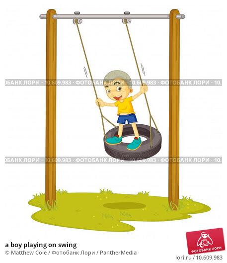 a boy playing on swing. Стоковая иллюстрация, иллюстратор Matthew Cole / PantherMedia / Фотобанк Лори