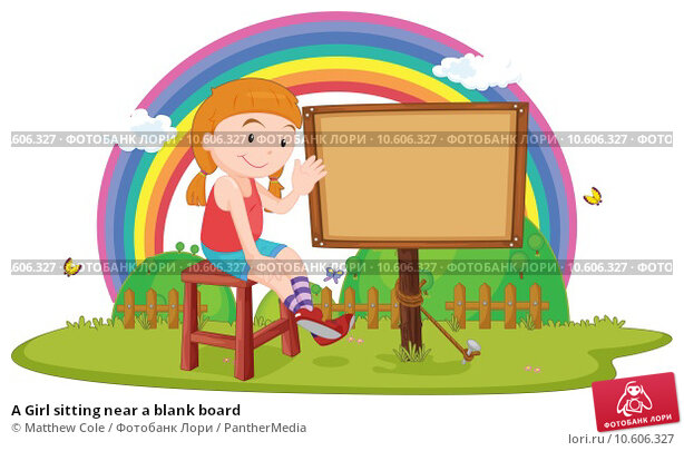 A Girl sitting near a blank board. Стоковая иллюстрация, иллюстратор Matthew Cole / PantherMedia / Фотобанк Лори