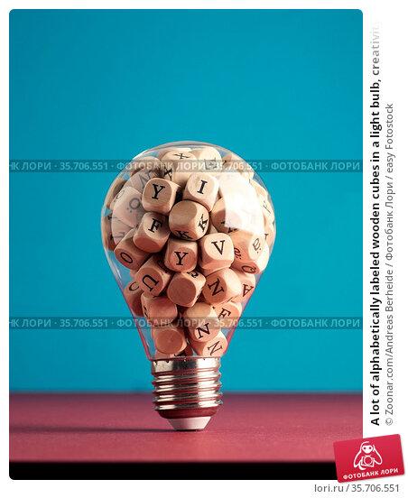 A lot of alphabetically labeled wooden cubes in a light bulb, creativity... Стоковое фото, фотограф Zoonar.com/Andreas Berheide / easy Fotostock / Фотобанк Лори