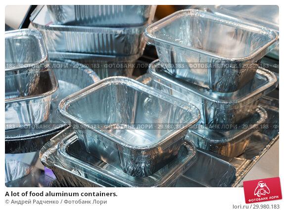 Купить «A lot of food aluminum containers.», фото № 29980183, снято 17 июня 2016 г. (c) Андрей Радченко / Фотобанк Лори
